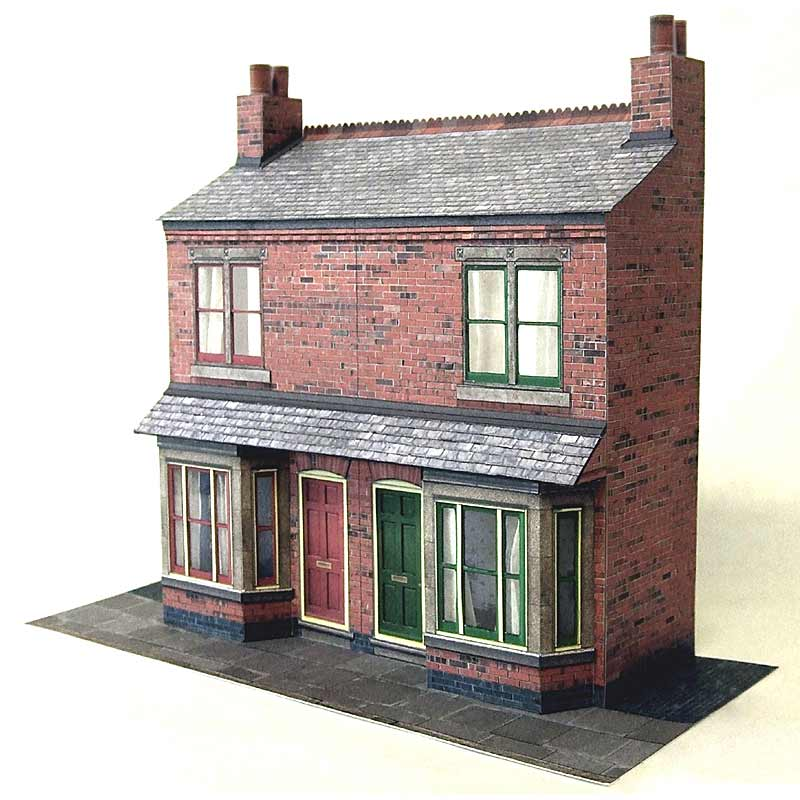 7mm Terraced House With Bay Windows Card Model Kit ...