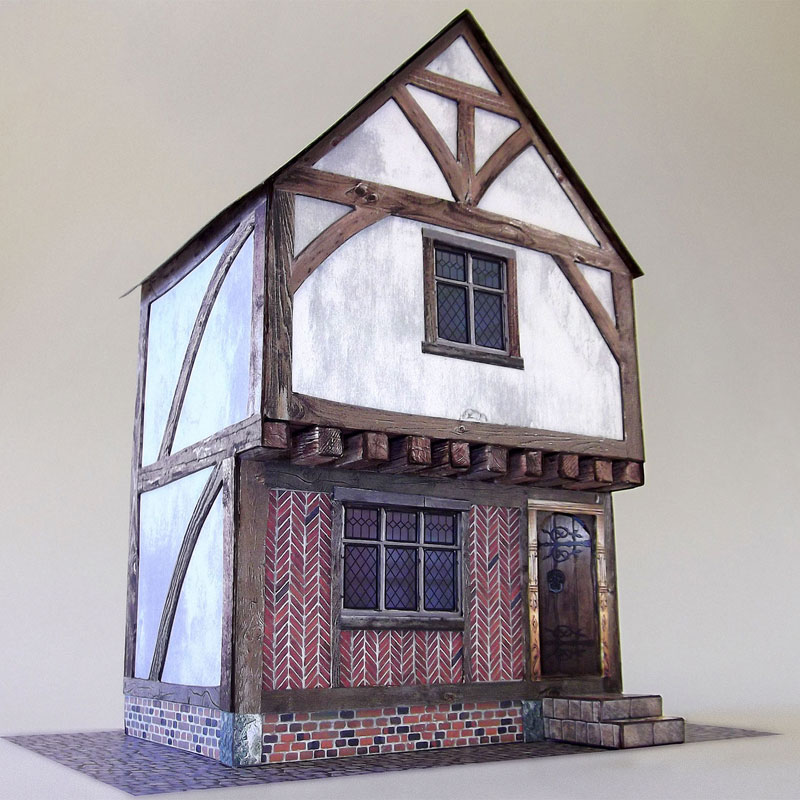 7mm tudor town house card model kit purple bob 39 s hobbies - What makes a house a tudor ...