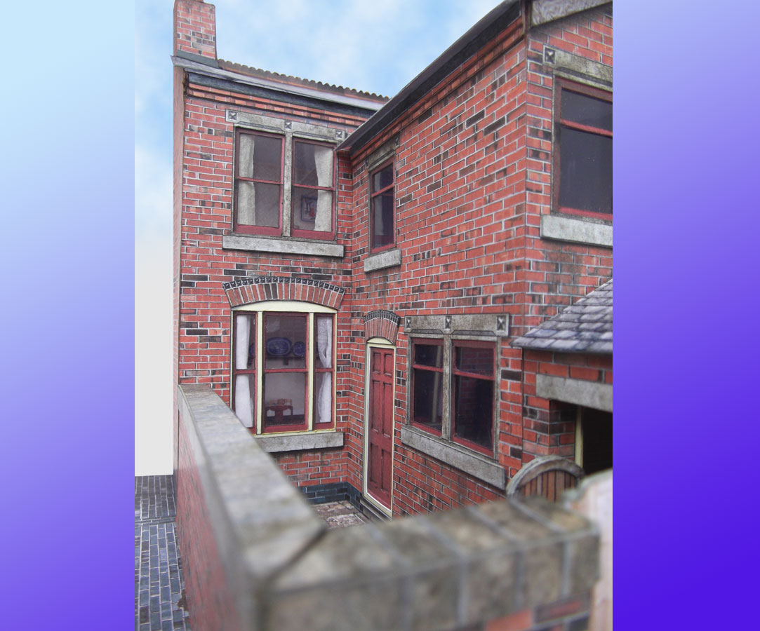 7mm Victorian Terraced House Backs Card Model Kit Purple